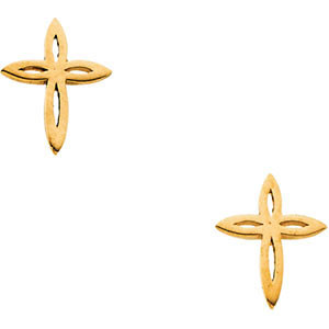 Design Cross Stud Earrings, 14K Yellow Gold