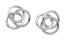 Trinity Knot Stud Earrings, 14K White Gold