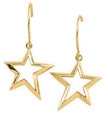 Star Dangle Earrings, 14K Yellow Gold