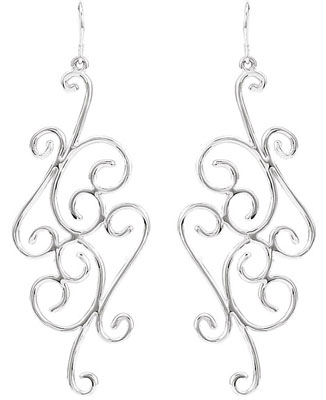 Scrollwork Design Earrings in Sterling Silver