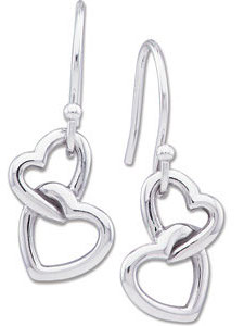 Double Heart Earrings, 14K White gold