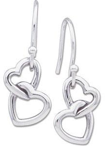 Double Heart Earrings, 14K White gold