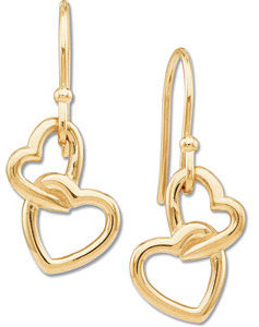 14K Yellow Gold Double Heart Earrings