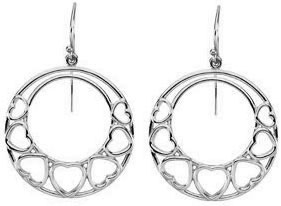 Heart Hoop Dangle Earrings, 14K White Gold