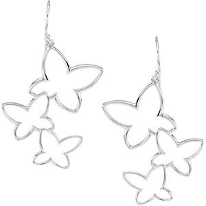 Butterfly Earrings in 14K White Gold