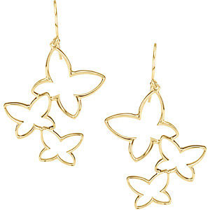 Butterfly Earrings , 14K Yellow Gold