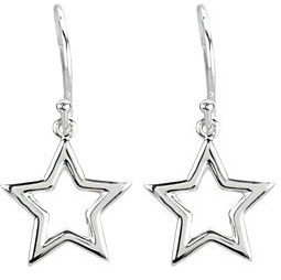 14K White Gold Star Earrings