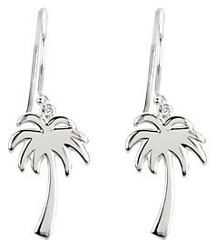 Palm Tree Earrings, 14K White Gold