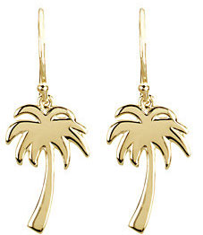 Palm Tree Earrings, 14K Yellow Gold