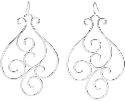 14K White Gold Scrollwork Design Earrings