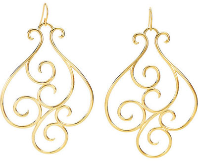 14K Yellow Gold Scrollwork Design Earrings