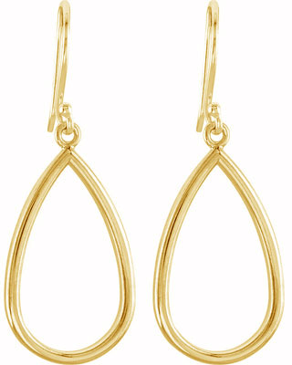 14K Yellow Gold Teardrop Design Earrings