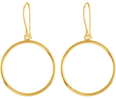 Hoop Dangle Earrings, 14K Yellow Gold