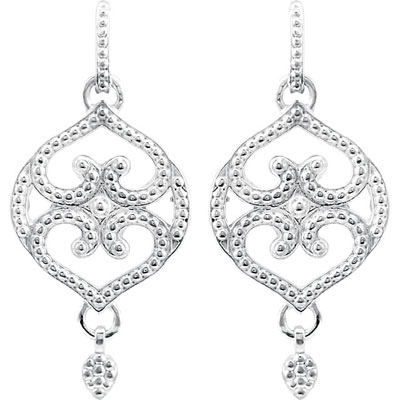 Filigree Design Earrings, 14K White Gold