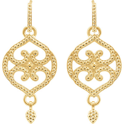 Filigree Design Earrings, 14K Yellow Gold
