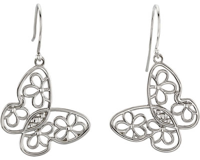 Floral Butterfly Earrings, 14K White Gold