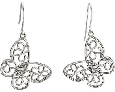 Floral Butterfly Earrings, Sterling Silver