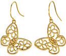 Floral Butterfly Earrings, 14K Yellow Gold