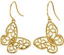 Floral Butterfly Earrings, 14K Yellow Gold