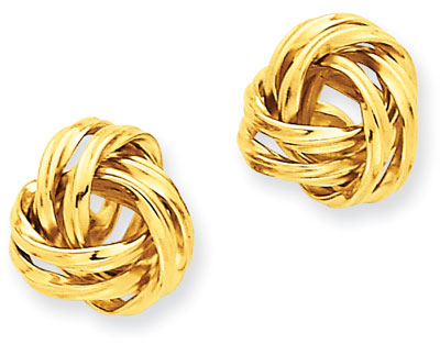 Love Knot Stud Earrings, 14k Yellow Gold