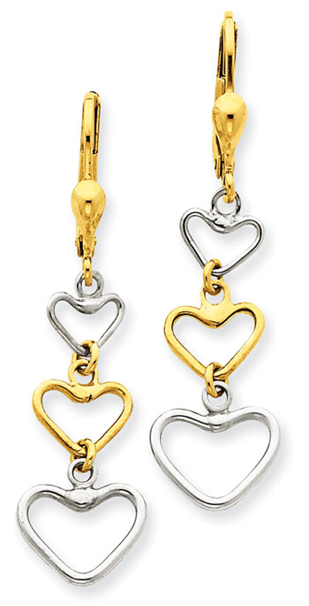 14K Two Tone Heart Drop Earrings