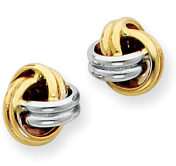 14K Two Tone Love Knot Earrings