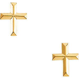 Beveled Cross Stud Earrings, 14K Yellow Gold