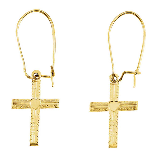 Engraved Cross Dangle Earrings, 14K Yellow Gold