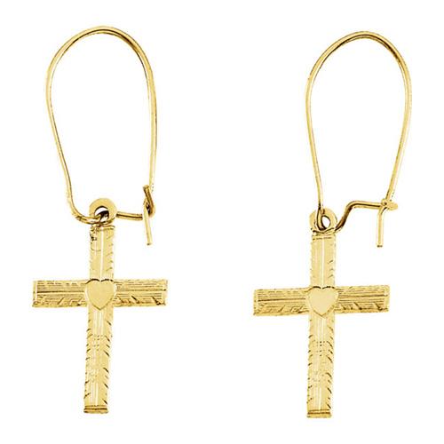 Engraved Cross Dangle Earrings in 14k Yellow Gold