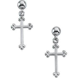 14k White Gold Budded Cross Earrings