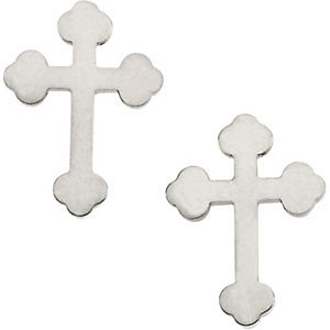 Budded Cross Stud Earrings, 14K White Gold