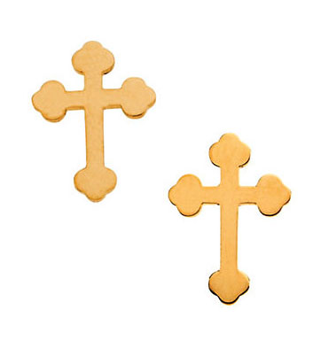 Budded Cross Stud Earrings, 14K Yellow Gold