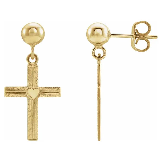 14K Yellow Gold Engraved Cross Dangle Earrings