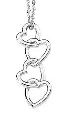 Heart Drop Pendant, 14K White Gold