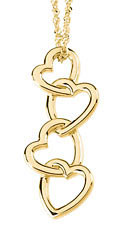 Heart Drop Pendant, 14kK Yellow Gold
