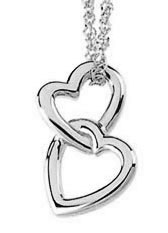 Double Heart Pendant, 14K White Gold