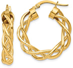 Braided Hoop Earrings in 14K Gold