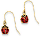 Dangling Enameled Ladybug Earrings in 14K Gold