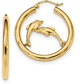 Dolphin Hoop Earrings in 14K Gold