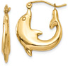 Dolphin-Shaped Hoop Earrings, 14K Gold