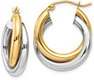 Entwined 14K Two-Tone Gold Hoop Earrings