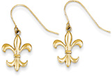 Fleur-de-Lis Shepherd's Hook Earrings, 14K Gold