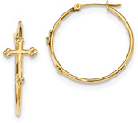 Fleur-de-Lis Cross Hoop Earrings, 14K Gold