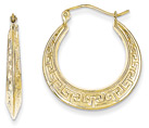 Greek Key Hoop Earrings in 10K Gold