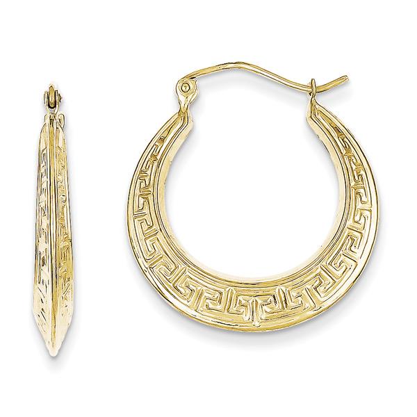 Greek Key Hoop Earrings in 10K Gold