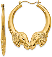 Large Horse Head Hoop Earrings, 14K Gold