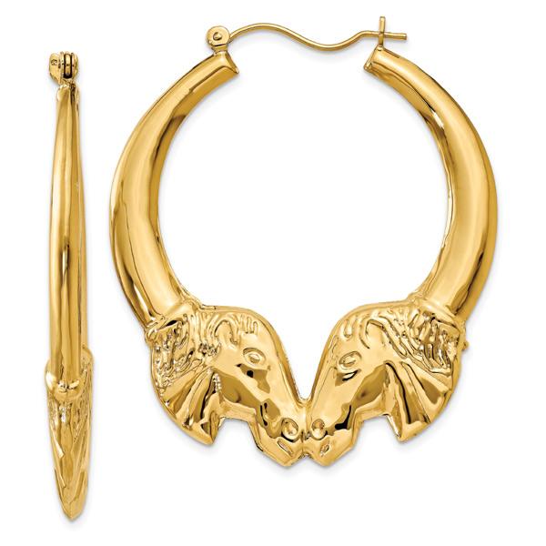 Large Horse Head Hoop Earrings, 14K Gold