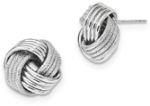 Large 14K White Gold Love Knot Earrings