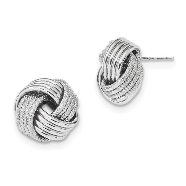 Large 14K White Gold Love Knot Earrings
