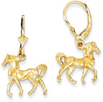 Lever-Back Horse Earrings in 14K Gold